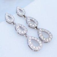 Trio Of Pave Silver Teardrop Earrings, Silver