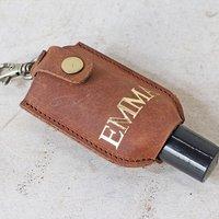 Personalised Leather Hand Sanitiser Keyring With Bottle