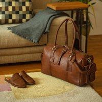 Drake Leather Holdall Bag Water Natural