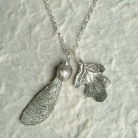 Oak Leaf And Sycamore Key Necklace