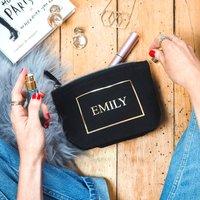 Personalised Monogram Name Make Up Bag, Black/Gold