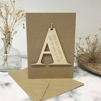 Personalised Initial Letter Good Luck Card, Brown/Cream/White