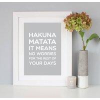 'Hakuna Matata' Disney Quote Print, Black/Navy/Grey