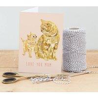 'Love You Mum' Cat Illustrated Greeting Card