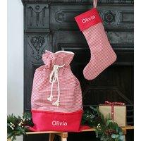 Personalised Christmas Sack Stocking Set Gingham Check
