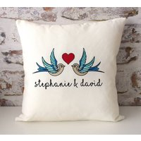 Personalised Embroidered Romantic Swallows Cushion