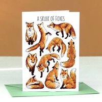 Foxes Watercolour Greeting Card