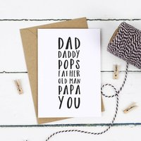 Dad's Names Fathers Day Card