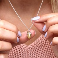 18ct Gold And Silver Personalised Acorn Necklace, Silver