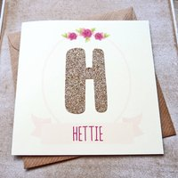 Personalised Rose Gold Glitter Letter Birthday Card
