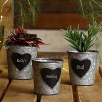 Set Of Three Personalised Potting Shed Planter Buckets