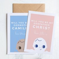 Personalised Will You Be My Godparent? Card, Blue/Pink/Turquoise