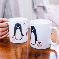 Personalised Penguin Couple Valentines Mug