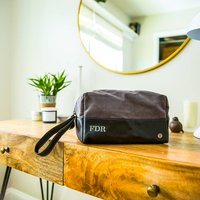 Personalised Grey Canvas And Leather Wash Bag/Dopp Kit