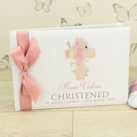 Personalised Watercolour Cross Christening Guest Book