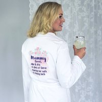 Personalised Mummy Loves Rose Dressing Gown, White