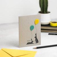 New Baby Twins Card Bunny + Felt Balloon