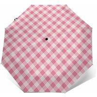 Designer Pink Gingham Check Folding Umbrella