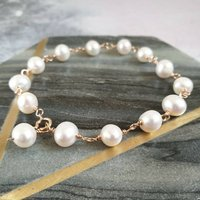 Rose Gold Filled Pearl Bracelet, Gold