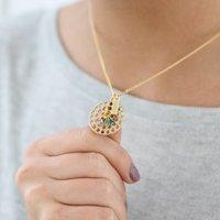 Personalised Family Birthstone Mum Circle Necklace