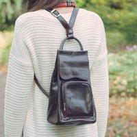 Italian Leather Backpack Handbag. The Carli, Chestnut/Tan/Dark Chocolate
