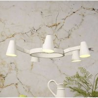 Five Shade White Contemporary Chandelier Light