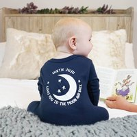 Personalised Love You To The Moon And Back Sleepsuit, Black