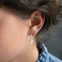Sterling Silver Lightning Hoop Personalised Earrings, Silver