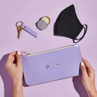 Personalised Lilac Leather Zipped Pouch