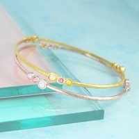 Gold Opal/Tourmaline Double Birthstone Bangle, Gold