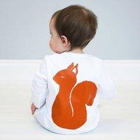 Squirrel Baby Sleepsuit, White/Grey