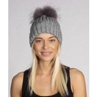 Grey Cashmere Hat With Pompom