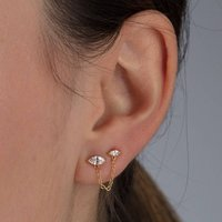 Droplet Double Stud Earrings With Chain Connector