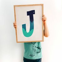 Green And Blue Alphabet Initial Letter Poster Print