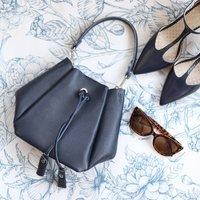 Leather Drawstring Mini Handbag, Navy
