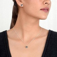 Sterling Silver Heart Stud Earrings And Necklace Set, Silver