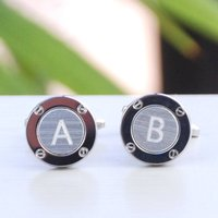 Personalised Silver Porthole Initial Cufflinks, Silver