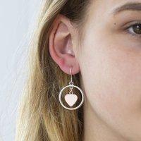 Rose Gold Heart Circle Earrings, Gold