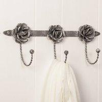 Vintage Roses Distressed Grey Triple Hook Board