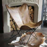 Natural Leather Butterfly Chair