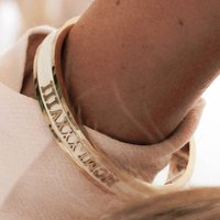 Anniversary Bangle Personalised With Your Date In Gold, Gold