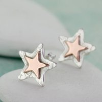 Personalised Rose Gold And Silver Star Stud Earrings, Silver