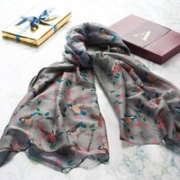 Personalised /Monogrammed Grey Bird Scarf In A Gift Box