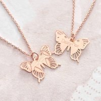 Personalised Rose Gold Delicate Butterfly Pendant, Gold