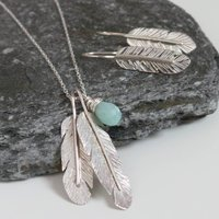 Feather Silver Jewellery Necklace And Earring Set, Silver