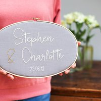 Personalised Anniversary Embroidery Hoop Sign