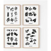 Set Of Four Seasonal Kitchen Print