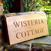 Personalised Natural Edge Oak House Wall Hanging Sign