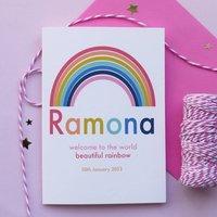 Rainbow Baby Personalised Newborn Card, Pink/Blue/Violet