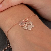 Rose Gold Paw Print And Initial Bracelet, Gold
